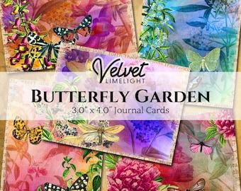 BUTTERFLY GARDEN Journal Cards, Digital Download, Printable Ephemera, Vintage Floral Flower Tags for Junk Journaling, Scrapbooking, Collage
