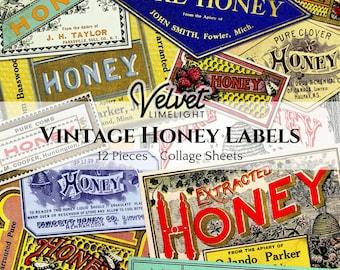 VINTAGE HONEY LABELS 12 Pieces Printable Beekeeping Bees Apiary Cooking Food Antique Ephemera Collage Sheets Digital Download 300dpi Jpeg