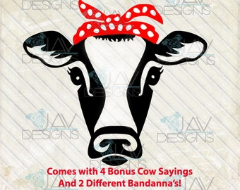 Heifer Cow Rosie SVG, Bandanna cow head, rosie the riveter Silhouette studio cut file png dxf  cow face, farm girl