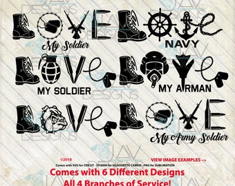 a0d7765fe1b LOVE Military LOVE SVG Solider - Service Branches 6 Digital Cut File  Designs Svg Dxf Png - Eps   Studio in Zip File