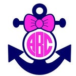 Anchor Monogram Svg Bow Monogram Svg Anchor Svg Circle Etsy