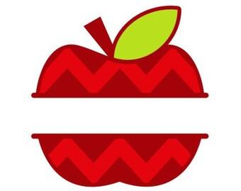 Split Apple SVG Teacher SVG Teacher Monogram svg Apple SVG  Cricut Files Silhouette Files Digital Files Scan n Cut Files Back to School svg