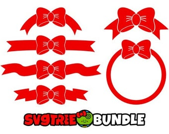 Bow Monogram Svg Red Bow Bow Svg Circle Monogram Svg Etsy