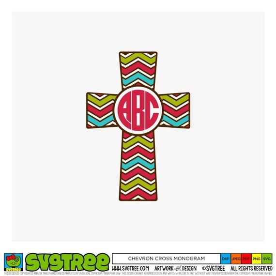 Cross Monogram Svg Chevron Cross Svg Monogram Svg Christian Etsy