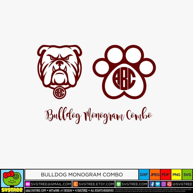Download Bulldog SVG Paw Print SVG Dog Monogram SVG Cricut Files | Etsy