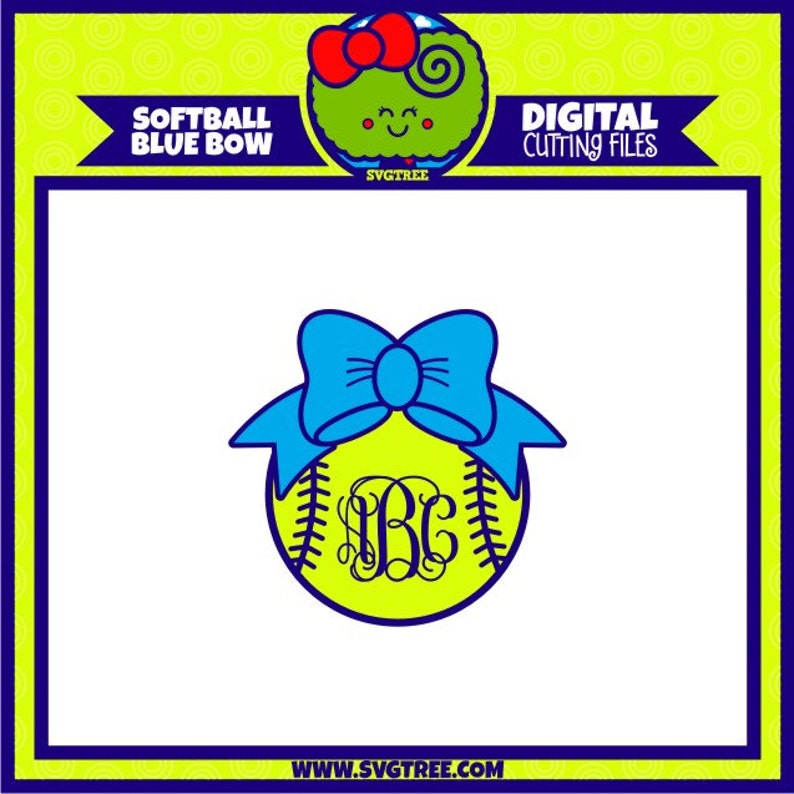 Softball Svg Softball Monogram Svg Bow Monogram Svg Commercial Etsy
