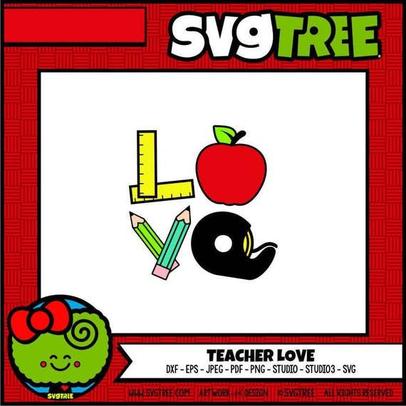 Teacher Svg Teacher Love Svg Apple Svg Back To School Svg Etsy