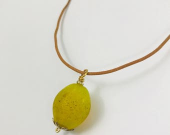 Yellow Resin Pendant Leather Necklace