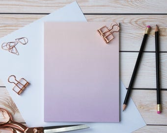 Rose Gold-Violet gradient ombre notepad (50 pages)