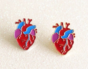 Anatomical Heart Enamel Pin Badge - silver or gold