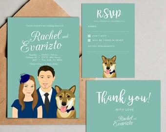 Custom Wedding invitation set. Printable Personalized Wedding Invitation. Custom portraits with pet. Save the date.