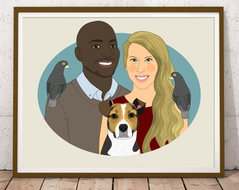 Custom couple portrait with pets. Gift for animal lovers. Couple's illustration.