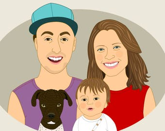 Custom family portrait Personalized family illustration with pet. Portrait from photo. Fathers day gift. Home decoration.