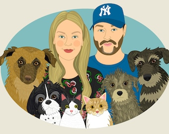 Custom couple portrait with pets. Personalized family drawing. Couple portrait. Gift for animal lovers. Custom portraits. Birthday gift.
