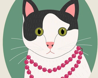 Custom cat portrait. Cat illustration. Cat memorial. Gift for cat lovers. Pet portraits. Cat lady gift. Gift for pet moms.