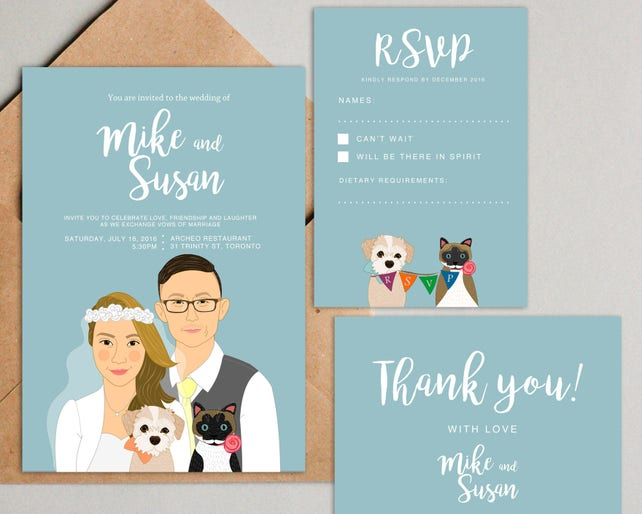 Quirky wedding invitations. Printable wedding invitation set. Custom couple portrait. RSVP. Thank you card. Quirky save the date.