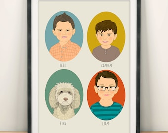 Family portrait illustration. Personalized Family portrait. Digital family drawing. Anniversary, housewarming or birthday gift.