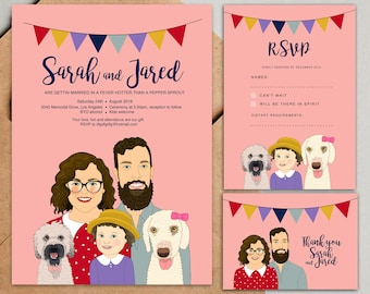 Custom Portrait wedding invitation, Save the date, rsvp, Thank you card. Family portrait with pets. Personalized wedding invitation.