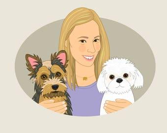 Personalized pet portrait. Pet portrait commission. Custom pet portrait. One person and 2 pets. Pet memorial. Gift for dog mom.
