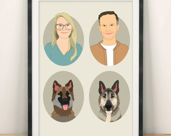 Portrait Drawing. Personalized couple portraits with 2 pets. Wedding, engagement or anniversary gift.