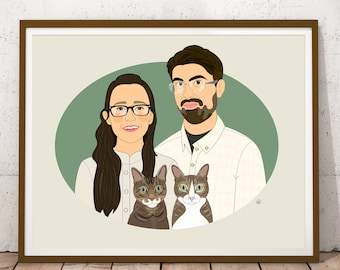 2 people 2 cats. Personalized portrait for cat lovers. Portrait with cats. Custom portrait with pets from photo. Digital file.