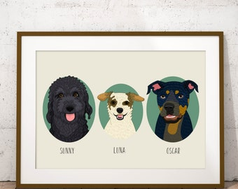 Portrait of 3 pets. Dog portraits. Dog replica. Custom pet portraits. Custom dog portrait. Quirky dog portrait. Cat portrait.