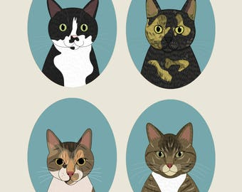 Quirky cat portrait. Cat loverS gift. Cat drawing, cat illustrationS. Gift for cat lovers. Valentines, Birthday gift. 4 cats.