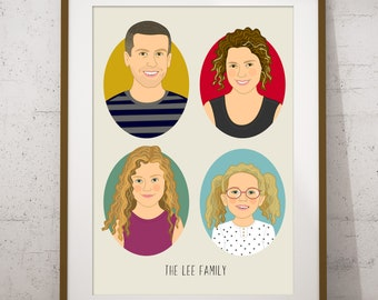 Custom Family portrait. Digital drawing. Personalized Family illustration. Digital family illustration. Anniversary gift. Mother's day gift