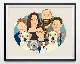 Custom family drawing. Personalized portrait for large family. Mother's day gift. Fathers day gift. Gift for grandparents. Birthday gift.