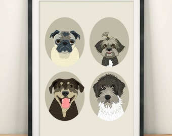 Customized pet portraits. Custom pet portraits. Four pet portraits. Dogs or cats. Gift for pet lovers. Gift for pet moms.
