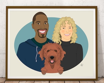 Couples Portrait with pet. 2 people 1 pet. Personalized portrait. Custom illustration. Wedding or anniversary gift. Digital file.