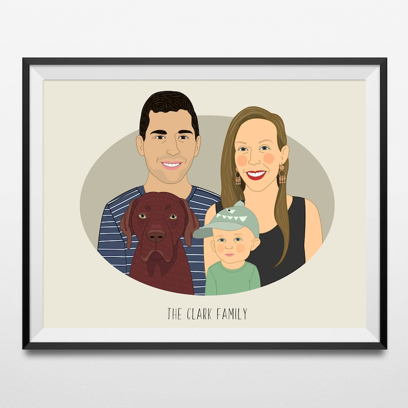 Family Portrait With Pet Christmas Gift Cartoon Family Etsy