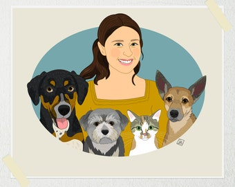 Gift for dog and cat lovers. Individual portrait with pets. Gift for dog moms. Gift for animal lovers.