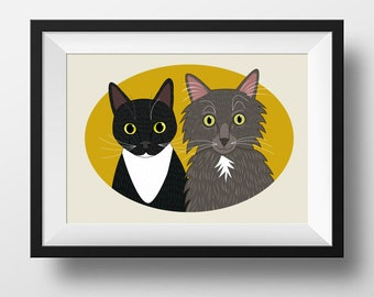 Cat portrait. Portrait of two cats, Custom pet illustration. Whimsical pet portraits. Pet couple portrait. Portrait from photo.