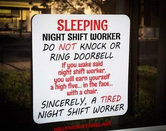 Sleeping Night Shift Worker - Do Not Knock - Front Door Decal
