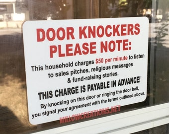 Door Knockers Please Note Door Decal