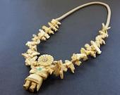 Hand Carved Natural Buffalo Bone Sun Kachina with Mixed Animals Fetish Necklace