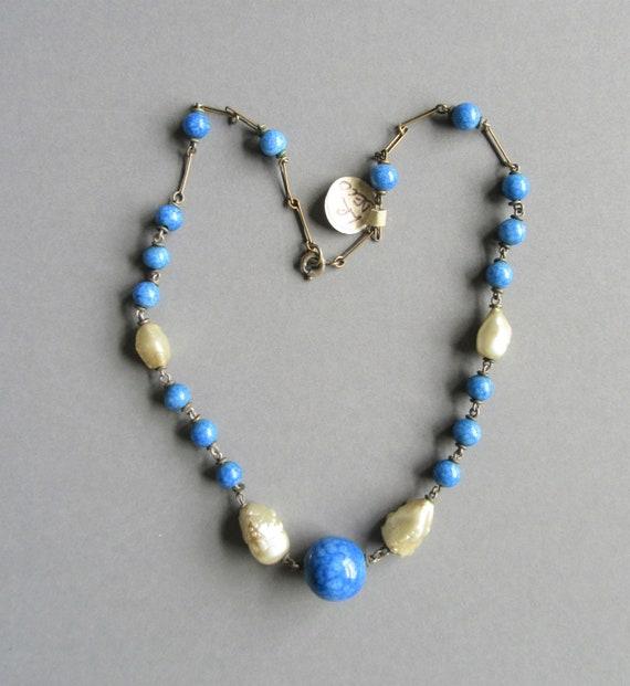 Louis Rousselet Blue & Pearl necklace