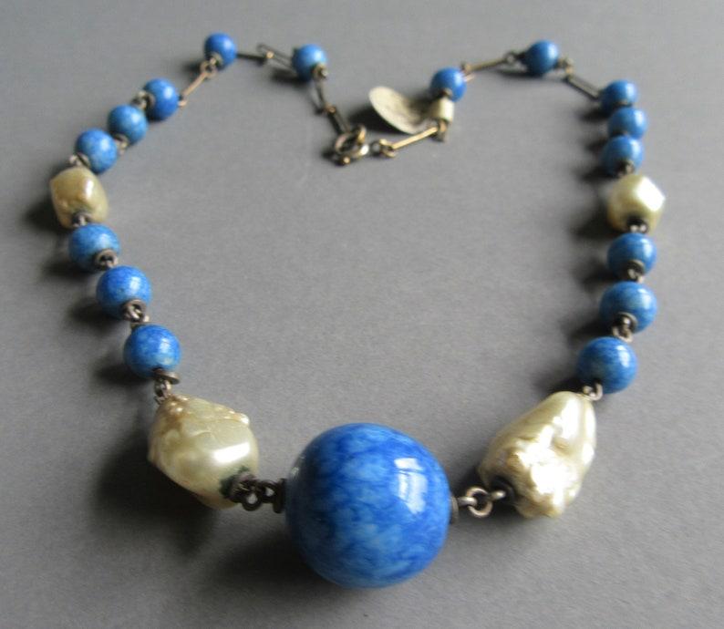 Louis Rousselet Blue /& Pearl necklace