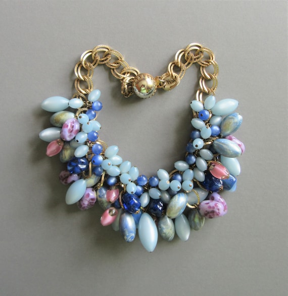 1950s Blue Festoon drip Necklace