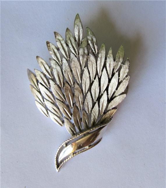 1950s Trifari Silver Leaf Brooch