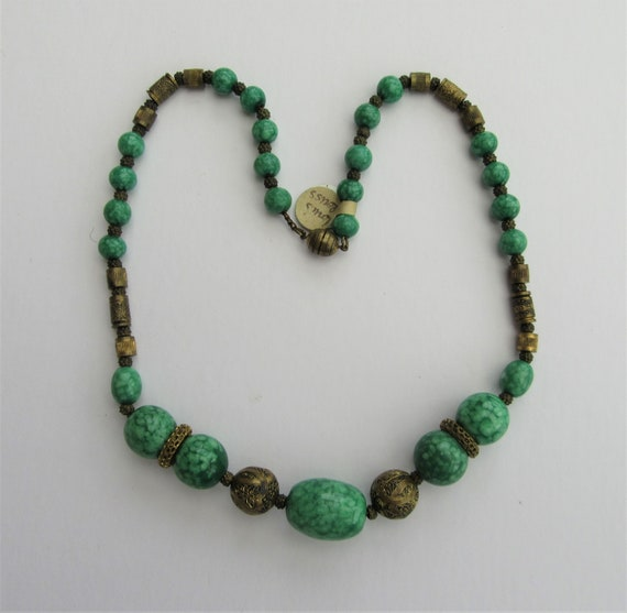 1920s Louis Rousselet Peking Green Glass Necklace