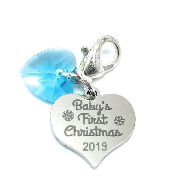 Libbys Market Place Mum To Be New Mum Clip on Charm with Baby Feet Charm and 2019 sign charm with Blue Velvet Gift Bag