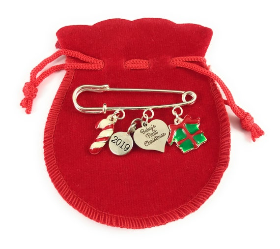 Baby/'s First Christmas 2019 Nappy Pin with Gift Card Candy Cane and Gift Box
