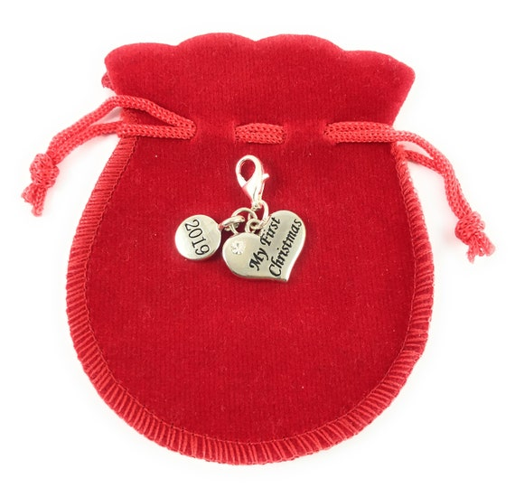 Gift Box Libbys Market Place Babys First Christmas 2020 Keepsake Clip On Charm with Red Crystal