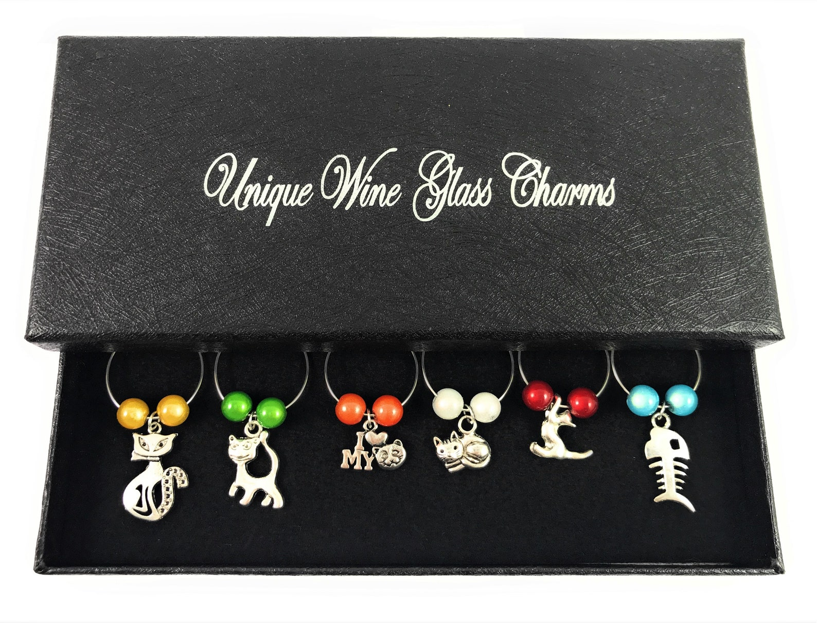 Set of 6 Cat Lovers Wine Glass Charms