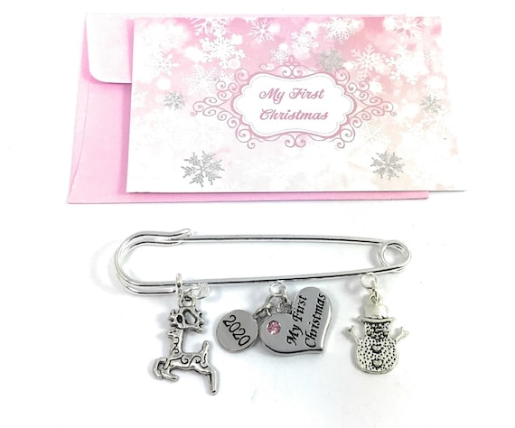 Reindeer and Snowman My First Christmas 2019 Nappy Pin Charms with Gift Card