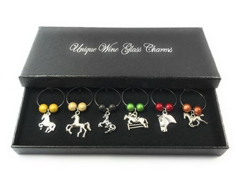 Horse Lovers Wine Glass Charms Handmade by Libby's Market Place