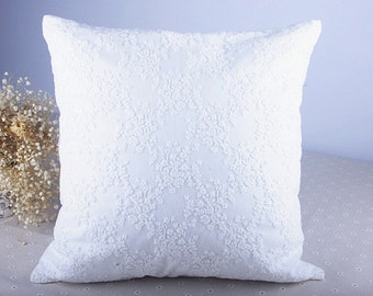 Floral Lace Pillow Cover/Pillow Case/Pillow Shell/Pillow Sham in  White 18'' x 18'' One Piece