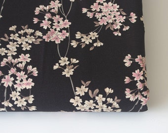 Vintage Japanese Black Cotton Fabric Floral Fabric With Pink White Sakura  Flowers Twigs ,for Tablecloth,Doll ,Home Décor ETC U20131/2 Yard